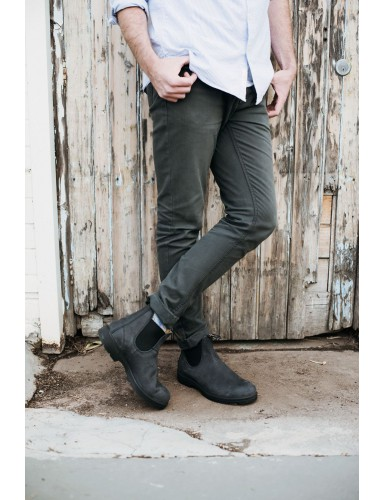 ELASTIC SIDED BOOT LINED RUSTIC BLACK T-44